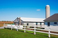 Barn and a silo in a farm, Amish Farm, Lancaster, Pennsylvania, USA