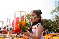 A child at the Central Shahid Minar in Dhaka, a monument for the martyrs of the language movement during in 1952, on International Mother Language Day...