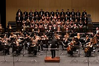 Tenerife symphony orchestra and chorus during a performance at the MusicFestival of Canarias,Spain