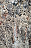 Detail: Emperor Xiaowen and His Court, ca  522-23, Northern Wei dynasty, 386-534, Limestone with traces of pigment H  82 in  208 3 cm, W  12 ft  11 in...