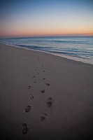 Footprints on the beach, Miami Beach, Florida, USA
