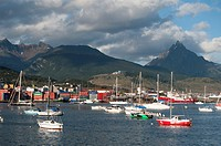 Sailing boats in the bay, Ushuaia, Argentina