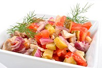some fresh organic herring salad with tomato