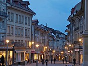 Evening, Old Town, Fribourg, people, street, lights, town, city, canton Freiburg, Switzerland,