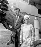 Charles Lindbergh 1902_1974, American aviation pioneer, with his wife Anne Morrow Lindbergh. In 1927, Charles Augustus Lindbergh became the first pers...