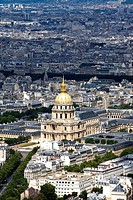 Aerial view of Paris city and Musee de l´Armee or Les Invalides, from Montparnasse tower  Paris  France