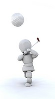 3D Man Playing golf
