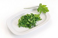 Chopped parsley on a tray