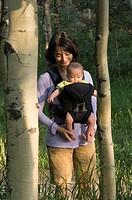 A mother walks with her daughter in a front carrier through an aspen grove.