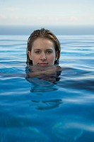 Woman relaxing in water, portrait