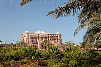The exterior of The Emirates Palace Hotel in Abu Dhabi, UAE