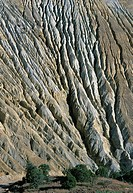 Erosion on the tailings of the Santa Rita copper mine near Silver City, New Mexico, USA