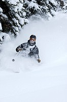 A man skis on Teton Pass in Wyoming.
