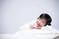 children education girl lay face down on bed