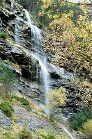 Waterfall in autumn in the pyrenees,huesca province,aragon,spain