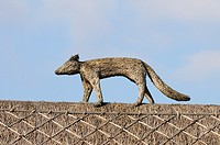 A Thatched Roof with Fox Sculpture, Haslingfield, Cambridgeshire, England, UK