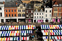 Market Square Viewed from Great St Mary's Church Tower, Cambridge, England, UK