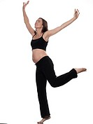 pregnant caucasian woman exercise balance isolated studio on white background