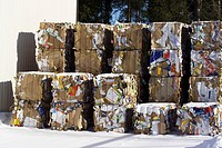Piles cardboard boxes for recycling