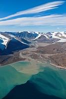 Aerial landscape of Guys Bight, Baffin Island, Nunavut, Canada.