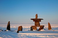 Inukshuk in town of Churchill on the stores of Hudson Bay, Manitoba, Canada