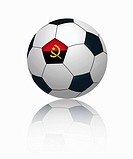 Angolan flag on football, close up