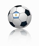 Argentinian flag on football, close up