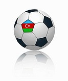 Azerbaijan flag on football, close up