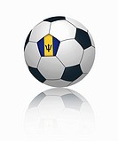 Barbados flag on football, close up