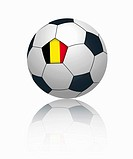 Flemish flag on football, close up