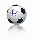 Finnish flag on football, close up