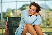 Italy, South Tyrol, Woman in bathrobe, portrait, smiling