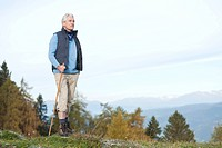 Italy, South Tyrol, Mature man hiking at dolomites