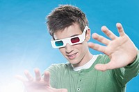 Teenage boy with 3d glasses