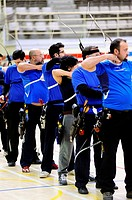 Group of archers in competition