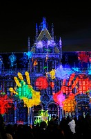 """On dirait que   "", light show, immense projections of images on the walls of the Post Plaza, Korenmarkt, Ghent, Gent, Gand, Flemish region, Belgium, ..."