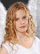Portrait of girl as angel, close up