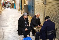 Two Men playing Backgammon, Old City, Jerusalem, Israel.