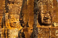 Face-towers  Upper terrace  Bayon Temple  Angkor Siem Reap town, Siem Reap province  Cambodia, Asia.