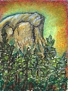 Oil pastel painting 'Half Dome Sunset'