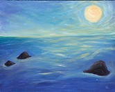 Seascape painting 'Moon over Trinidad Bay'