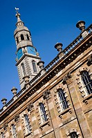 Steeple and wall detail of St Andrews in the Square Church, St Andrews Square, Glasgow  This is a classically designed 18th century church, designed b...