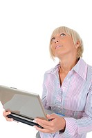 Blonde with a computer