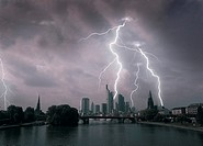 Lightning over a big city