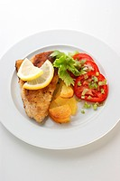 grilled carp fillet with potato and vegetable