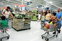 Florida, Miami, Hialeah, Wal-Mart, Walmart, shopping, for sale, retail display, Hispanic, family, mother, father, children, boy, girl,