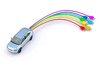 electric car with colored pins 3d illustration