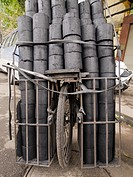 Coal for transport on a bicycle in Hanoi, Vietnam