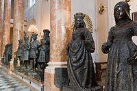 Bronze statues, Court Church, Imperial Church, Hofkirche, interior, Innsbruck, Tyrol, Austria.