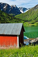Balestrand Norway red boat house